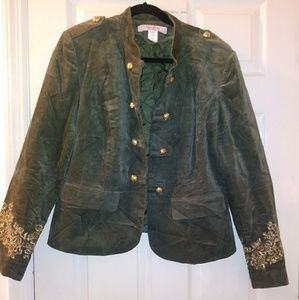 Women corduroy green jacket.